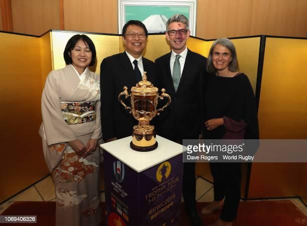 Masamich Saigo the Japan Ambassador poses with the United Kingdom Ambassador Richard Morris along with their wives Eriko Saigo and Alison Morris as...
