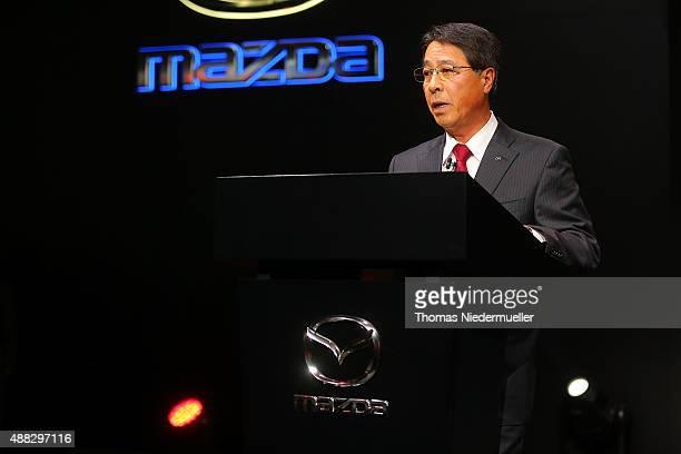 Masamichi Kogai President and CEO Mazda Motor Corporation talks at the Mazda press confernece during the Frankfurt Motor Show on September 15 2015 in...