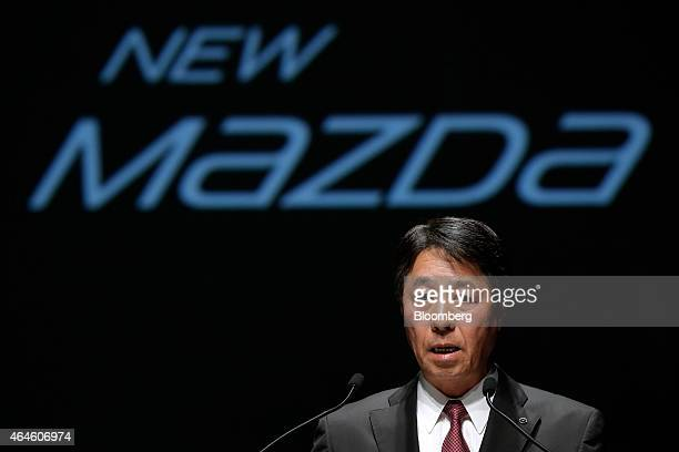Masamichi Kogai president and chief executive officer of Mazda Motor Corp speaks during a news conference for the launch of the company's new CX3...