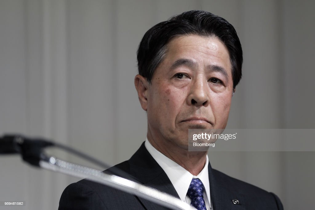 Masamichi Kogai, president and chief executive officer of Mazda Motor Corp. and one of the vice chairmen of Japan Automobile Manufacturers Association Inc. (JAMA), pauses during a news conference in Tokyo, Japan, on Thursday, May 17, 2018. Toyota Motor Corp. president Akio Toyoda became the chairman of JAMA today. Photographer: Kiyoshi Ota/Bloomberg via Getty Images