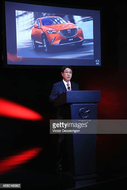 Masamichi Kogai Representative Director and President and CEO Mazda addresses the media prior to presenting the CX3 at the annual Los Angeles Auto...