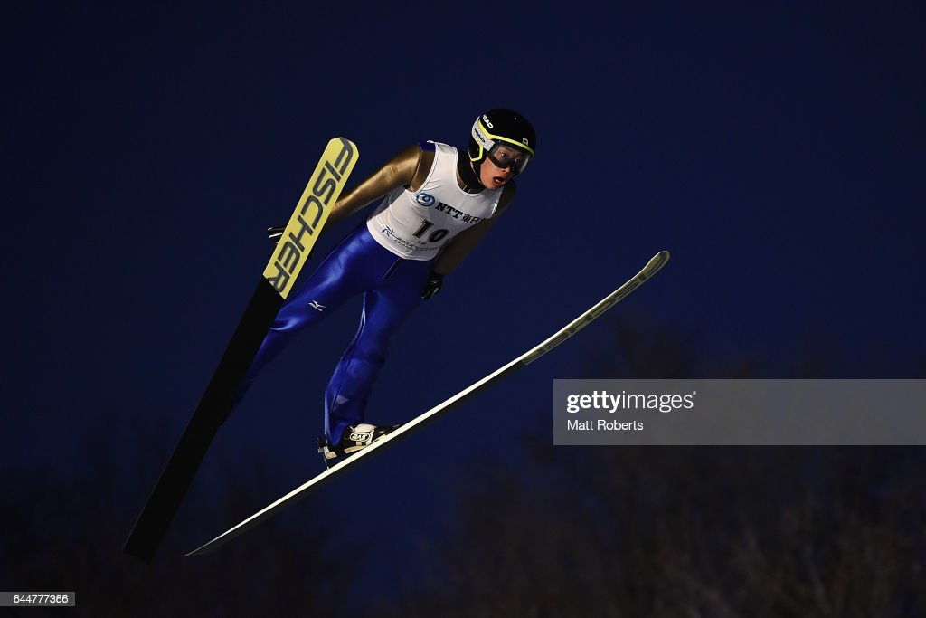 Masamitsu Ito of Japan competes in the men's ski jumping large hill individual on day seven of the 2017 Sapporo Asian Winter Games at Okurayama Ski Jump Stadium on February 24, 2017 in Sapporo, Japan.