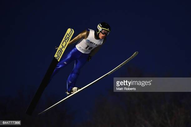 Masamitsu Ito of Japan competes in the men's ski jumping large hill individual on day seven of the 2017 Sapporo Asian Winter Games at Okurayama Ski...