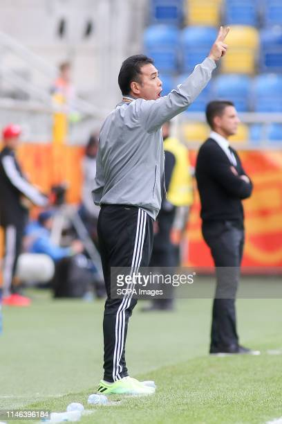 Masanaga Kageyama, Head Coach from Japan seen gesturing during the FIFA U-20 World Cup match between Mexico and Japan in Gdynia. .