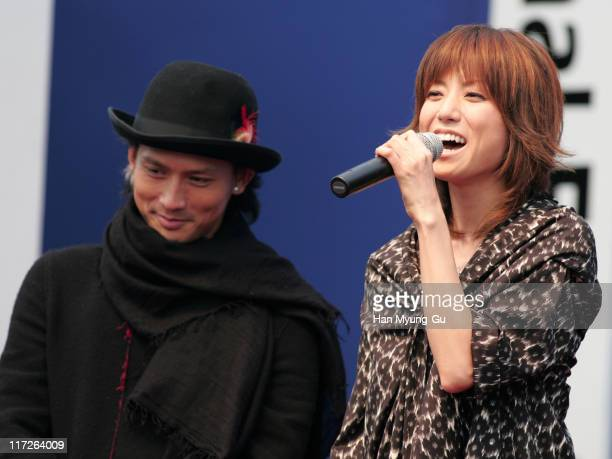 Masanobu Ando and Hitomi during 11th Pusan International Film Festival Nightmare Detective Cast Greeting at Outdoor Stage In Haeundae in Pusan South...