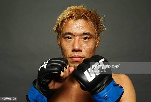 Masanori Kanehara poses for a photo after his win backstage during the UFC Fight Night event inside the Saitama Arena on September 20, 2014 in...