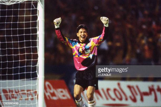 Masanori Sanada of Shimizu S-Pulse celebrates his side's victory through the penalty shootout after the J.League Suntory Series match between Shimizu...
