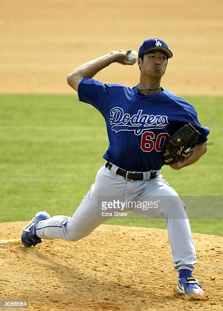 Masao Kida of the Los Angeles Dodgers pitches against the Montreal Expos on March 9 2004 at Space Coast Stadium in Viera Florida