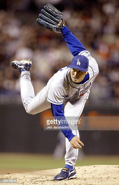 Masao Kida of the Los Angeles Dodgers pitches against the San Francisco Giants during the second game of a double header September 27 2003 at Pac...