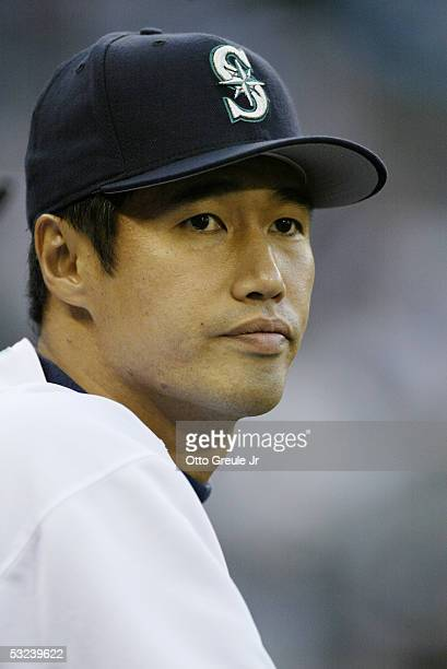 Masao Kida of the Seattle Mariners looks on during the game against the Boston Red Sox on September 9 2004 at Safeco Field in Seattle Washington