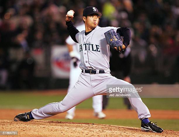Masao Kida of the Seattle Mariners pitches against the Oakland Athletics on September 27 2004 at the Network Associates Coliseum in Oakland California