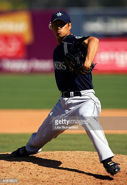 Masao Kida of the Seattle Mariners pitches during a Spring Training game against the Los Angeles Angels of Anaheim on March 8 2005 at Tempe Diablo...