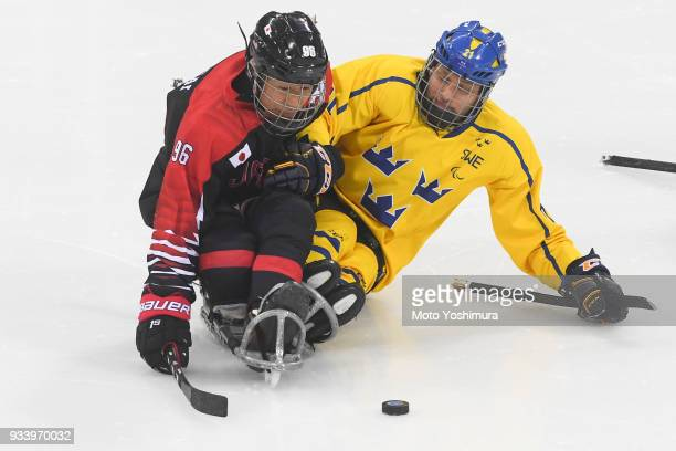 Masaru Kumagai of Japan in action during the Ice Hockey Classification Game between Japan and Sweden on day seven of the PyeongChang 2018 Paralympic...