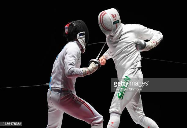 Masaru Yamada and Kazuyasu Minobe compete in the Men's Epee final during day two of the 72nd All Japan Fencing Championships at LINE CUBE Shibuya on...