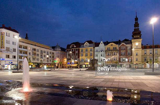 masaryk square at dusk in the historic city center of ostrava, czech republic.  2007. - ostrava stock pictures, royalty-free photos & images