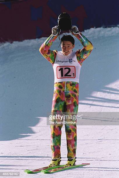 Masashi Abe of Japan reacts after competing in the Ski Jumping of the Nordic Combined Team during the Lillehammer Olympic on February 20 1994 in...