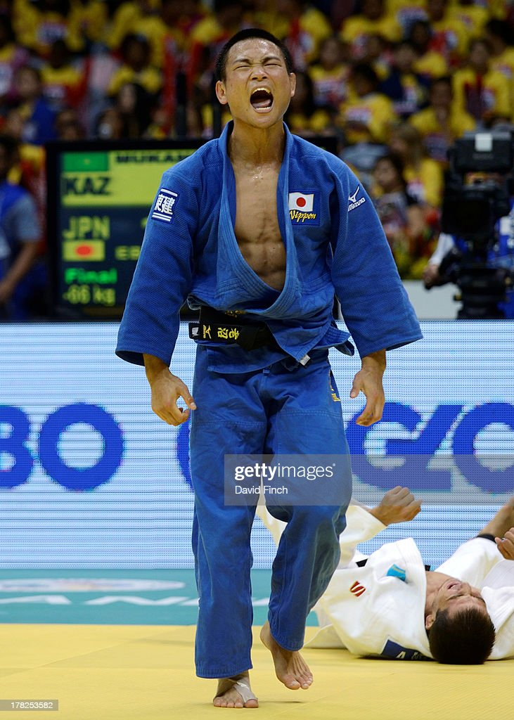 Masashi Ebinuma of Japan screams in celebration after throwing Azamat Mukanov of Kazakstan for ippon to win the u66kgs gold medal during day 2 of the 2013 Rio World Judo Championships at the Gympasium Maracanazinho on August 27, 2013 in Rio de Janeiro, Brazil.