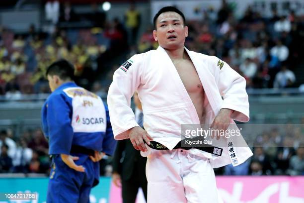 Masashi Ebinuma of Japan shows dejection after losing the Men's 73kg final match against Shohei Ono of Japan on day two of the Grand Slam Osaka at...