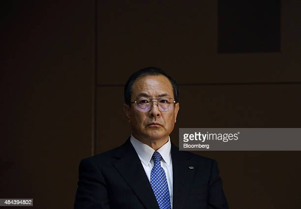 Masashi Muromachi chairman and interim president of Toshiba Corp attends a news conference at the company's headquarters in Tokyo Japan on Tuesday...