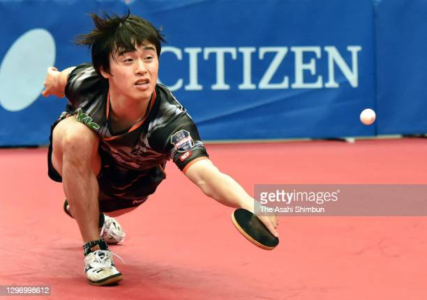 Masataka Morizono competes in the Men's Singles semi final against Yuta Tanaka during day seven of the Emperor's & Empress's Cup All Japan Table...