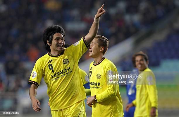 Masato Kudo of Kashiwa Reysol celebrates after scoring a goal during the AFC Champions League Group H match between Suwon Bluewings and Kashiwa...