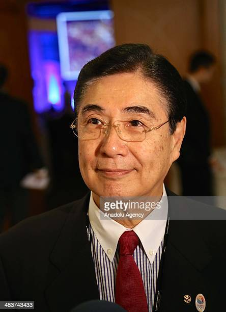 Masato Mizuno Vice President of the Japanese Olympic Committee speaks to the media during the 12th SportAccord Convention in Belek district of...