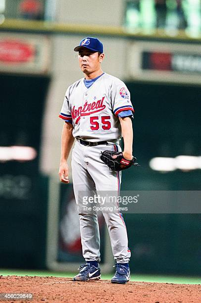 Masato Yoshii of the Montreal Expos during the game against the Houston Astros on May 2 2002 at Minute Maid Park in Houston Texas