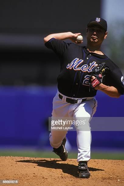 Masato Yoshii of the New York Mets pitches during a baseball game against the Arizona Diamondbacks on May 15 1999 at Shea Stadium in New York New York