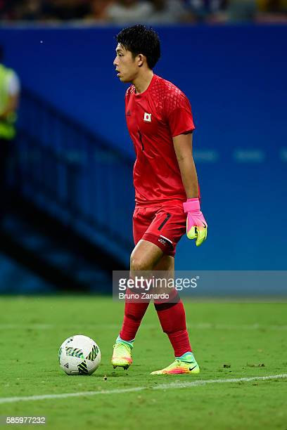 Masatoshi Kushibiki goalkeeper of Japan in action during 2016 Summer Olympics match between Japan and Nigeria at Arena Amazonia on August 4 2016 in...