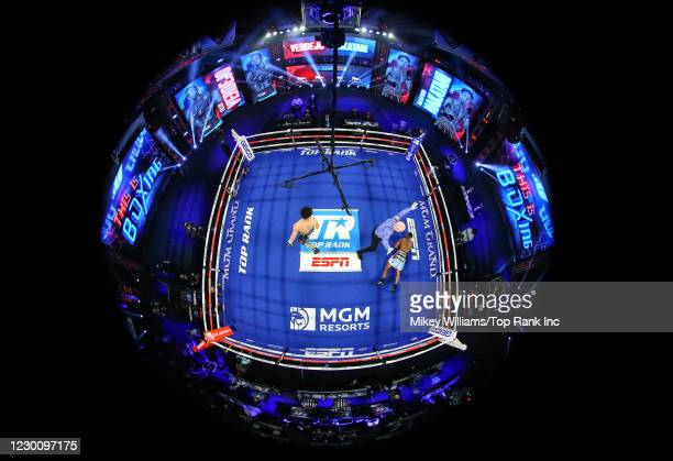 Masayoshi Nakatani knocks-out Felix Verdejo during their fight at the MGM Grand Conference Center on December 12, 2020 in Las Vegas, Nevada.
