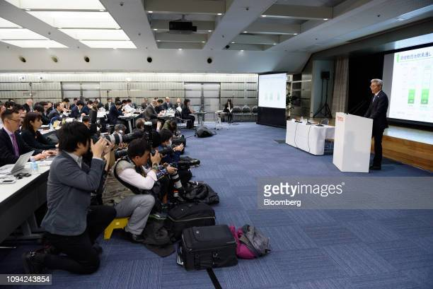 Masayoshi Shirayanagi operating officer of Toyota Motor Corp right speaks during a news conference in Tokyo Japan on Wednesday Feb 6 2019 Toyota cut...