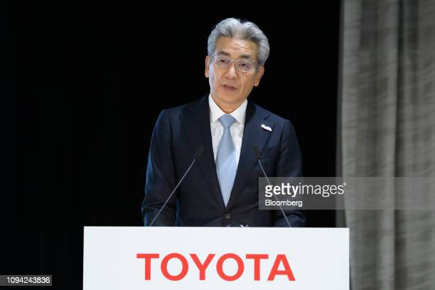 Masayoshi Shirayanagi operating officer of Toyota Motor Corp speaks during a news conference in Tokyo Japan on Wednesday Feb 6 2019 Toyota cut its...