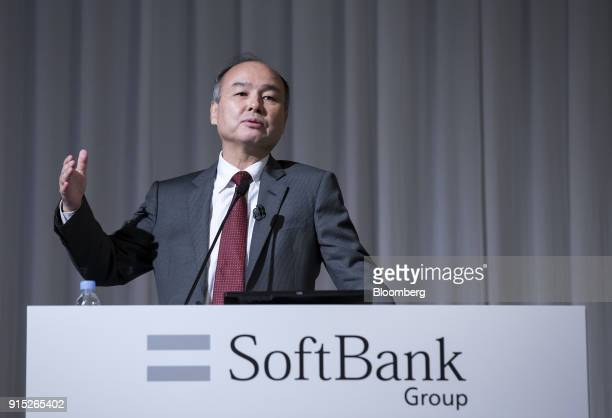 Masayoshi Son billionaire chairman and chief executive officer of SoftBank Group Corp gestures as he speaks during a news conference in Tokyo Japan...