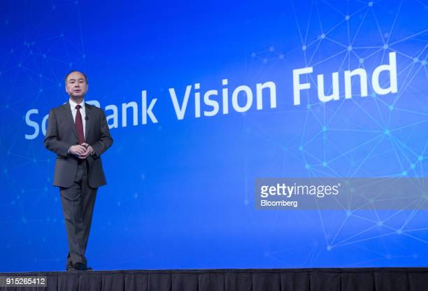 Masayoshi Son billionaire chairman and chief executive officer of SoftBank Group Corp speaks during a news conference in Tokyo Japan on Wednesday Feb...