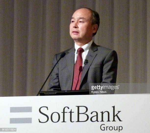 Masayoshi Son CEO of Softbank Group Corp speaks during a briefing session on its earnings results in Tokyo Japan on Feb 7 2018 ==Kyodo