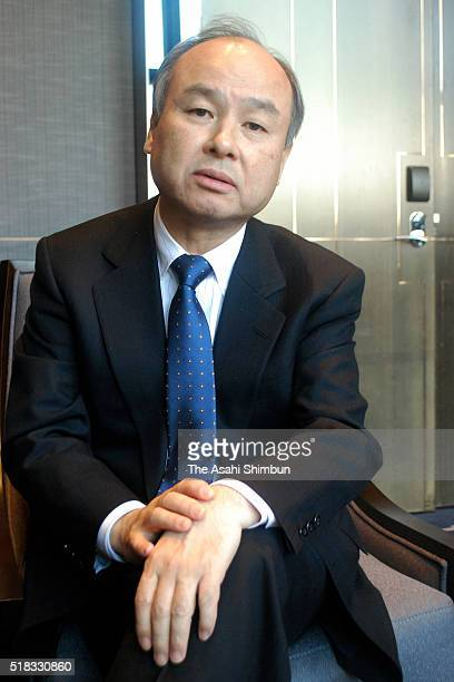 Masayoshi Son CEO of Softbank Group Corp speaks during the Asahi Shimbun interview on March 30 2016 in Beijing China Softbank Group Corp's hopes of...