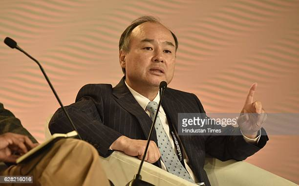 Masayoshi Son Chairman and CEO Softbank group corp in conversation with R Sukumar Editor Mint during the Hindustan Times Leadership Summit 2016 at...