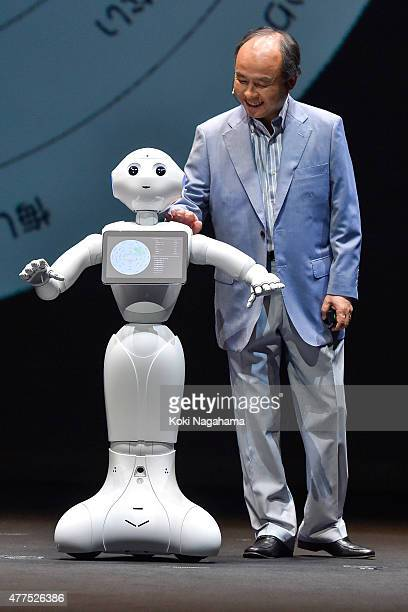 Masayoshi Son chairman and chief executive officer of SoftBank Corp speaks during a news conference on June 18 2015 in Chiba Japan Softbank Corp...