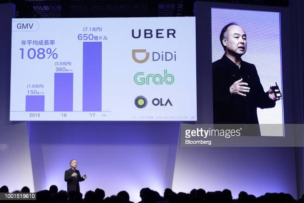 Masayoshi Son chairman and chief executive officer of SoftBank Group Corp speaks at the SoftBank World 2018 event in Tokyo Japan on Thursday July 19...