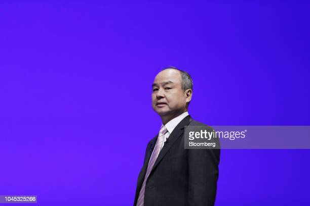 Masayoshi Son chairman and chief executive officer of SoftBank Group Corp speaks during a news conference in Tokyo Japan on Thursday Oct 4 2018...
