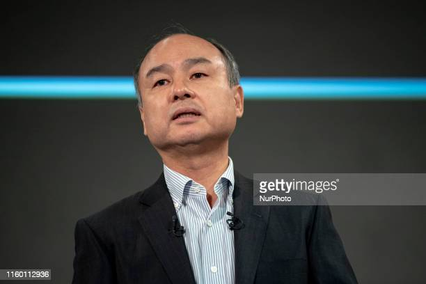 Masayoshi Son chairman and chief executive officer of SoftBank Group Corp speaks during a news conference in Tokyo Japan on Wednesday Aug 7 2019...