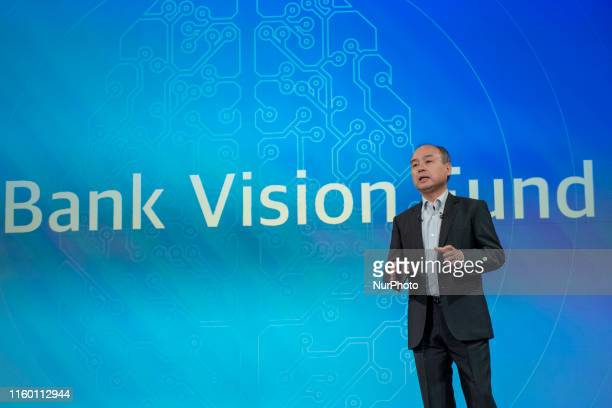 Masayoshi Son, chairman and chief executive officer of SoftBank Group Corp., speaks during a news conference in Tokyo, Japan, on Wednesday, Aug. 7,...