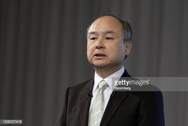Masayoshi Son, chairman and chief executive officer of SoftBank Group Corp., speaks during a news conference in Tokyo, Japan, on Wednesday, Feb. 12,...