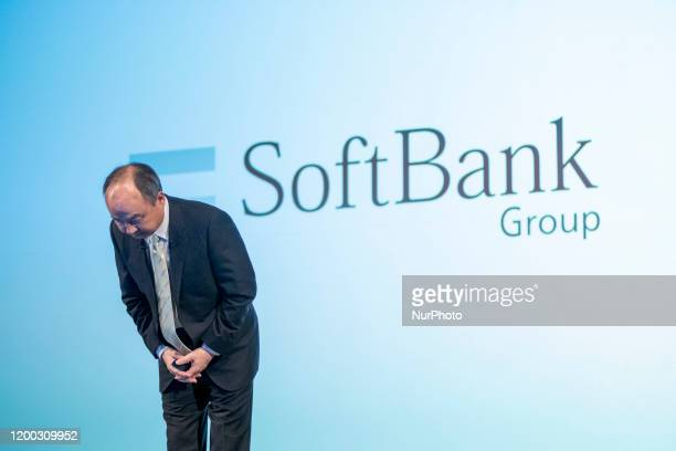 Masayoshi Son chairman and chief executive officer of SoftBank Group Corp speaks during a news conference in Tokyo Japan on Wednesday Feb 12 2020...
