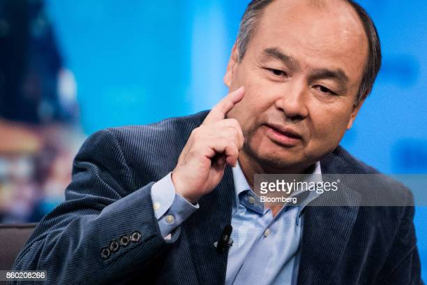 Masayoshi Son chairman and chief executive officer of SoftBank Group Corp speaks during an interview on The David Rubenstein Show in New York US on...
