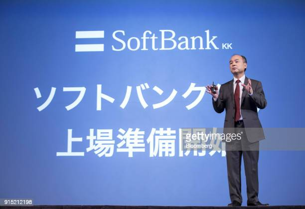 Masayoshi Son chairman and chief executive officer of SoftBank Group Corp speaks during a news conference in Tokyo Japan on Wednesday Feb 7 2018 Son...