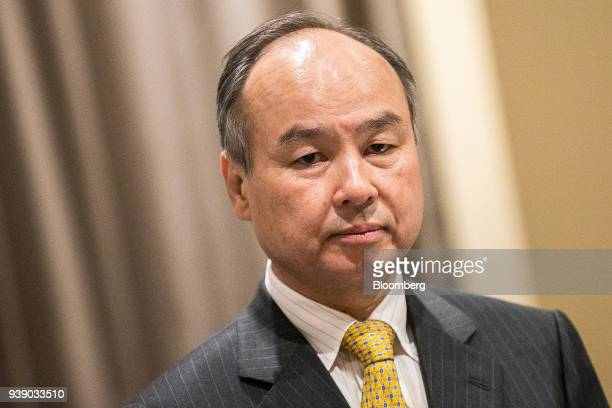 Masayoshi Son chairman and chief executive officer of SoftBank Group Corp stands ahead of a signing ceremony with Saudi Arabia's Crown...
