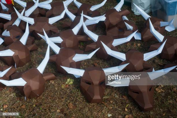 Mascaras de toro of the PETA collective prepared for the antibullfighting protest that takes place in Pamplona on the occasion of the San Fermin...