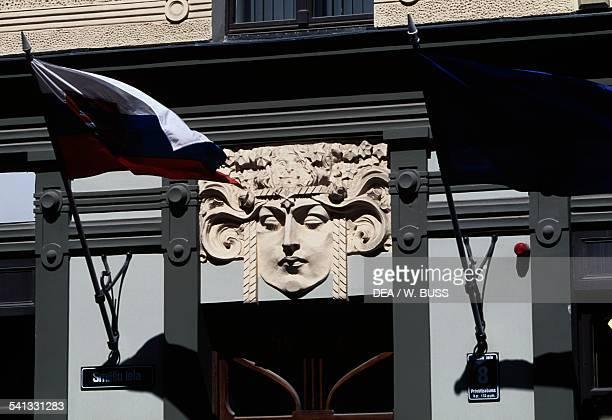 Mascaron detail of an Art Nouveau style building historic centre of Riga Latvia