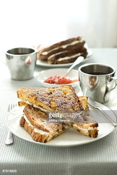 Mascarpone stuffed panetone french toast